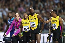 August 12, 2017 - London, STORBRITANNIEN - 170812 Jamaicas Usain Bolt grimaserar efter att ha skadat sig i finalen pÅ' stafetten 4x100 meter under dag nio av friidrotts-VM den 12 augusti 2017 i London  (Credit Image: © Joel Marklund/Bildbyran via ZUMA Wire)