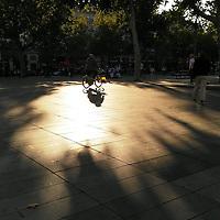 La lumière est magique, en automne. C'était certainement le cas ce soir-là, mi-septembre, alors qu'un cycliste traversait le puits de lumière au cœur de la place. Je pensais ne faire que passer, quand j'ai vu ces motifs au sol. Et j'ai immédiatement su qu'il était urgent de faire une pause. Tout comme la lumière semblait faire une pause entre l'été et l'hiver.<br /> <br /> Light is magical, in Autumn. It is was certainly so on that evening, in September, as someone was riding a bicycle across the pool of light, in the middle of the square. I was on my way somewhere else, when I saw these patterns on the ground. And I immediately knew it was high time to have a break. In the same way light was having a break between summer and winter.