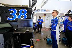 September 14, 2018 - Las Vegas, NV, U.S. - LAS VEGAS, NV - SEPTEMBER 14: David Ragan (38) Front Row Motorsports Ford Fusion in the Neon Garage during practice for the South Point 400 Monster Energy NASCAR Cup Series Playoff Race on September 14, 2018 at Las Vegas Motor Speedway in Las Vegas, NV. (Photo by David Griffin/Icon Sportswire) (Credit Image: © David Griffin/Icon SMI via ZUMA Press)