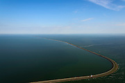 Nederland, Flevoland, Lelystad, 27-08-2013;<br /> Houtribdijk tussen het Markermeer en het IJsselmeer.<br /> Houtribdijk (dike) between the lakes Markermeer and the IJsselmeer.<br /> luchtfoto (toeslag op standaard tarieven);<br /> aerial photo (additional fee required);<br /> copyright foto/photo Siebe Swart.