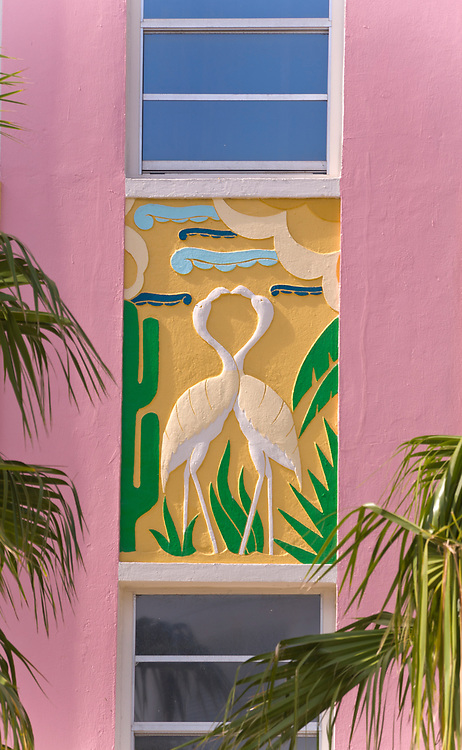 A Tropical Deco bas-relief of two flamingoes on a small, South Beach hotel designed by architect Henry Hohauser in 1936.