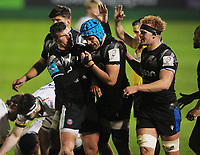 Rugby Union - 2020 / 2021 ER Challenge Cup - Quarter-final - Bath vs London Irish - The Recreation Ground<br /> <br /> Ruaridh McConnochie of Bath congratulates Zach Mercer after a turn over.<br /> <br /> Credit : COLORSPORT/ANDREW COWIE