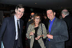 Left to right, JACOB REES-MOGG, MARCELLE D'ARGY SMITH and MICHAEL WALDMAN at a party to celebrate the publication of A History of Food in 100 Recipes by William Sitwell held at Archer street, 3-4 Archer Street, London W1 on 11th April 2012.