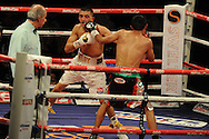 featherweight WBC world title eliminator.<br /> Lee Selby of Wales (l) v Romulo Koasicha of Mexico'The second coming'  boxing event at the Motorpoint Arena in Cardiff, South Wales on Sat 17th May 2014. <br /> pic by Andrew Orchard, Andrew Orchard sports photography.