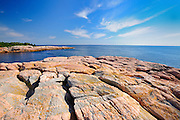 Rocky shoreline along the Atlantic Ocean<br /> Cape Breton Highlands National Park<br /> Nova Scotia<br /> Canada