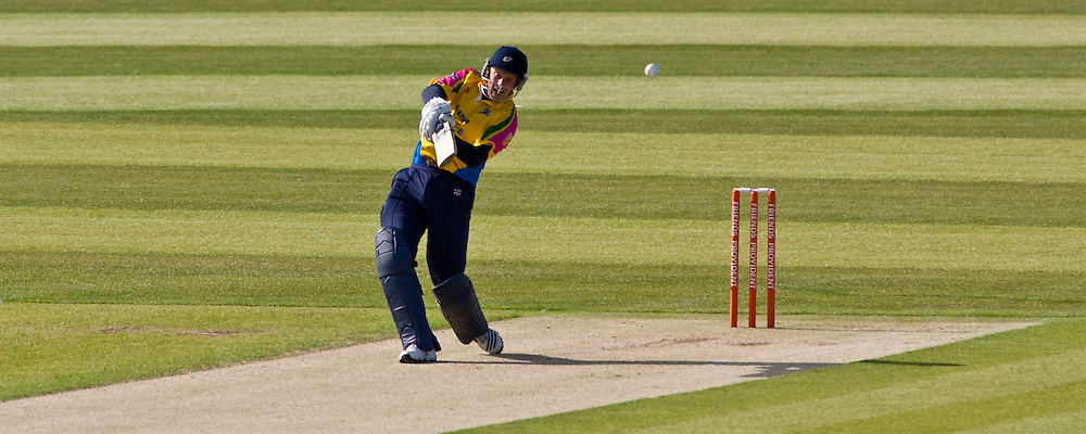 Andrew Gale of  Yorkshire Carnegie hits a six against Durham Dynamos at the Emirates Durham ICG.