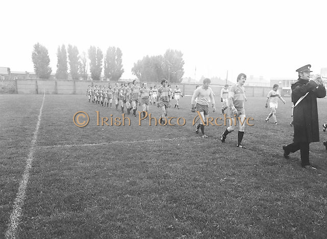 The Garda team line out onto the pitch at the start of the Guinness v Garda Gaelic Football Club Tournament Final on the 14th October 1979.