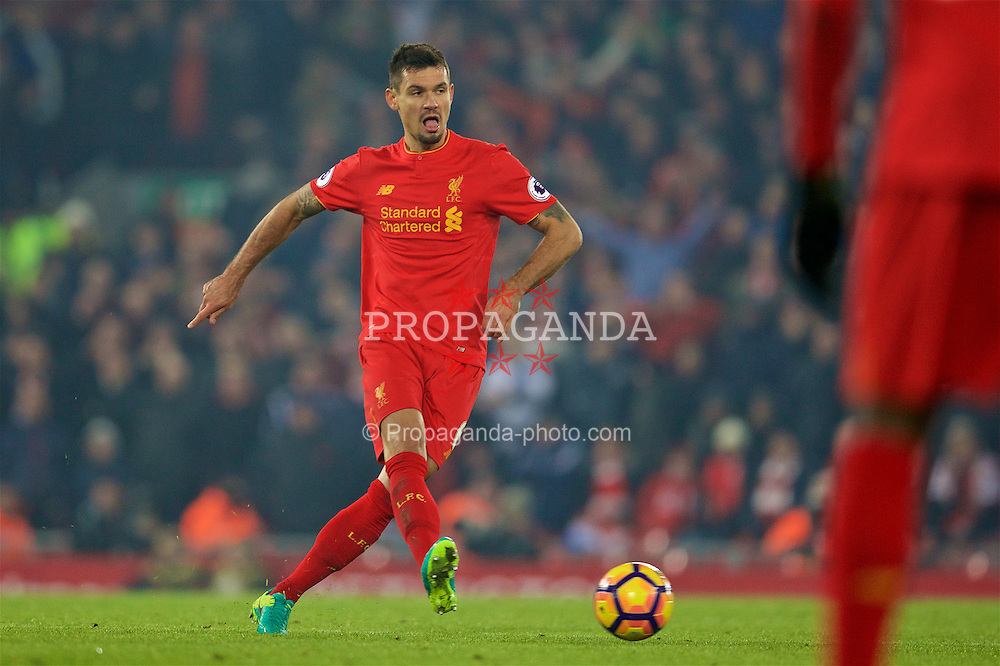 LIVERPOOL, ENGLAND - Saturday, November 26, 2016: Liverpool's Dejan Lovren in action against Sunderland during the FA Premier League match at Anfield. (Pic by David Rawcliffe/Propaganda)
