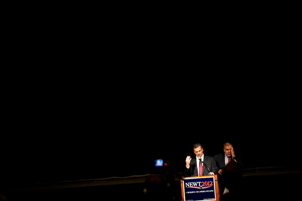 Staff for Republican Presidential candidate Newt Gingrich check the audio equipment before a morning town hall rally in the Magnolia Theater.  The South Carolina primary is on 21 January.