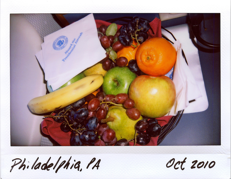 A bowl of fruit is seen on Air Force One en route to taking U.S. President Barack Obama to a rally in Philadelphia, October 10, 2010.