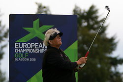 Gleneagles, Scotland, UK; 8 August, 2018.  Day one of golf competition at Gleneagles.. Men's and Women's Team Championships Round Robin Group Stage - 1st Round. Four Ball Match Play format. Gleneagles for the European Championships 2018. Laura Davies of GB tee shot at the 6th hole.