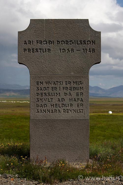 Monument , Ari Frodi Thorgilsson Stadarstadur, Snaefellsnes, Iceland - Minningarsteinn. Ari Fróiði Þorgilsson, að Staðarstað á Snæfellsnesi