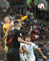 MOSCOW, July 11, 2018  Goalkeeper Jordan Pickford (1st L) of England defends during the 2018 FIFA World Cup semi-final match between England and Croatia in Moscow, Russia, July 11, 2018. Croatia won 2-1 and advanced to the final. (Credit Image: © Cao Can/Xinhua via ZUMA Wire)