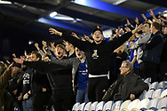 Ipswich fans celebrate their teams goal during the EFL Sky Bet League 1 match between Portsmouth and Ipswich Town at Fratton Park, Portsmouth, England on 19 October 2021.