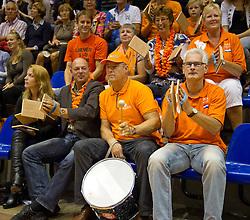 12-09-2010 VOLLEYBAL: EK KWALIFICATIE NEDERLAND - ESTLAND: ROTTERDAM<br /> Publiek support trommel<br /> ©2010-WWW.FOTOHOOGENDOORN.NL / Peter Schalk