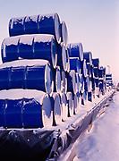 Stack of 55-gallon fuel drums at Deadhorse, North Slope of Alaska.
