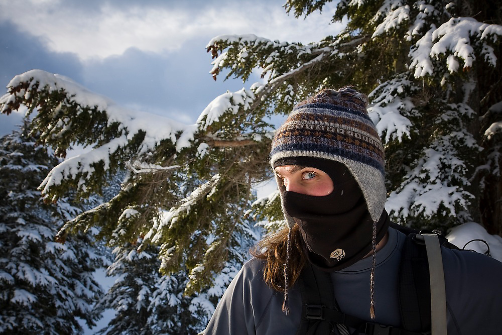Kevin Steffa looks at the camera from behind his balaclava in the Mount Baker backcountry, Mount Baker-Snoqualmie National Forest, Washington.