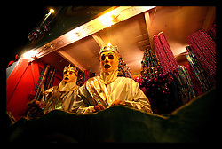 Feb 26th, 2006. New Orleans, Louisiana. The Krewe of Endymion rolls along Napoleon Avenue during Mardi Gras. Crowds scream, shout and holler for beads and throws from the float riders.