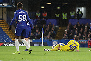 AFC Wimbledon midfielder Anthony Wordsworth (40) scoring goal to make it 2-1 during the EFL Trophy match between U21 Chelsea and AFC Wimbledon at Stamford Bridge, London, England on 4 December 2018.