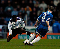 Fotball<br /> FA Cup England 2004/2005<br /> 3. runde<br /> 08.01.2005<br /> Foto: SBI/Digitalsport<br /> NORWAY ONLY<br /> <br /> Oldham Athletic v Manchester City<br /> <br /> The acrobatics of Manchester City's Shaun Wright-Phillips (L) fails to dispossess Oldham's Adam Griffin