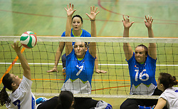 Wang Yanan of China vs Larisa Pirih of Slovenia and Jasmina Zbil of Slovenia during friendly Sitting Volleyball match between National teams of Slovenia and China, on October 22, 2017 in Sempeter pri Zalcu, Slovenia. (Photo by Vid Ponikvar / Sportida)