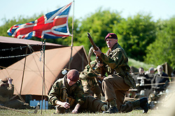 reenactors portray the 6th Aiborne Division during a battle reeactment at Fort Paull near Hull<br /> May 2011<br /> Image © Paul David Drabble