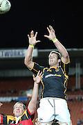 Craig Clarke jumps high for Taranki during their Round 3 ITM cup Rugby match, Waikato v Taranaki, at Waikato Stadium, Hamilton, New Zealand, Thursday 21 July 2011. Photo: Dion Mellow/photosport.co.nz