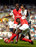 Photo: Ed Godden/Sportsbeat Images.<br /> Tottenham Hotspur v Arsenal. The Barclays Premiership. 21/04/2007. Spurs' Dimitar Berbatov is sandwiched between Arsenals lAbou Diaby and Kolo Toure.
