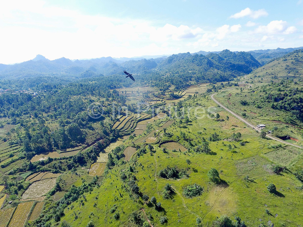 Aerial view of the rice fields, forests and mountains around Lo Pu village, Kayah State, Myanmar on 19th November 2016