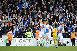 Bristol Rovers' fans celebrate as Bristol Rovers' Lee Brown scores a free kick - Photo mandatory by-line: Dougie Allward/JMP - Mobile: 07966 386802 26/04/2014 - SPORT - FOOTBALL - High Wycombe - Adams Park - Wycombe Wanderers v Bristol Rovers - Sky Bet League Two