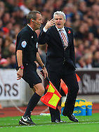 Stoke's manager, Mark Hughes vents his anger at the linesman - Stoke City vs. West Ham United - Barclay's Premier League - Britannia Stadium - Stoke - 01/11/2014 Pic Philip Oldham/Sportimage