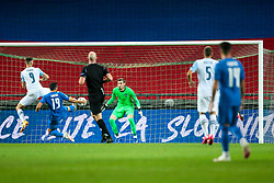 Andraz Sporar of Slovenia, Stratos Svarnas of Greece and Vassilis Barkas of Greece during the UEFA Nations League C Group 3 match between Slovenia and Greece at Stadion Stozice, on September 3rd, 2020. Photo by Vid Ponikvar / Sportida