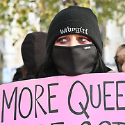 """Transgender Action Block protest against the LGB Alliance """"Anti-transgender"""" conference in Queen Elizabeth II Centre. They do not represent the views of our united community, and are a dangerous hate group aligned with fascist and far-right causes, 21 October 2021, Queen Elizabeth II Centre, London, UK."""
