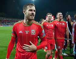 ZENICA, BOSNIA & HERZEGOVINA - Saturday, October 10, 2015: Wales Aaron Ramsey celebrates after securing a place at next years Euro Championships after the Bosnia & Herzegovina vs Wales match at the Stadion Bilino Polje during the UEFA Euro 2016 qualifying Group B match. (Pic by Peter Powell/Propaganda)