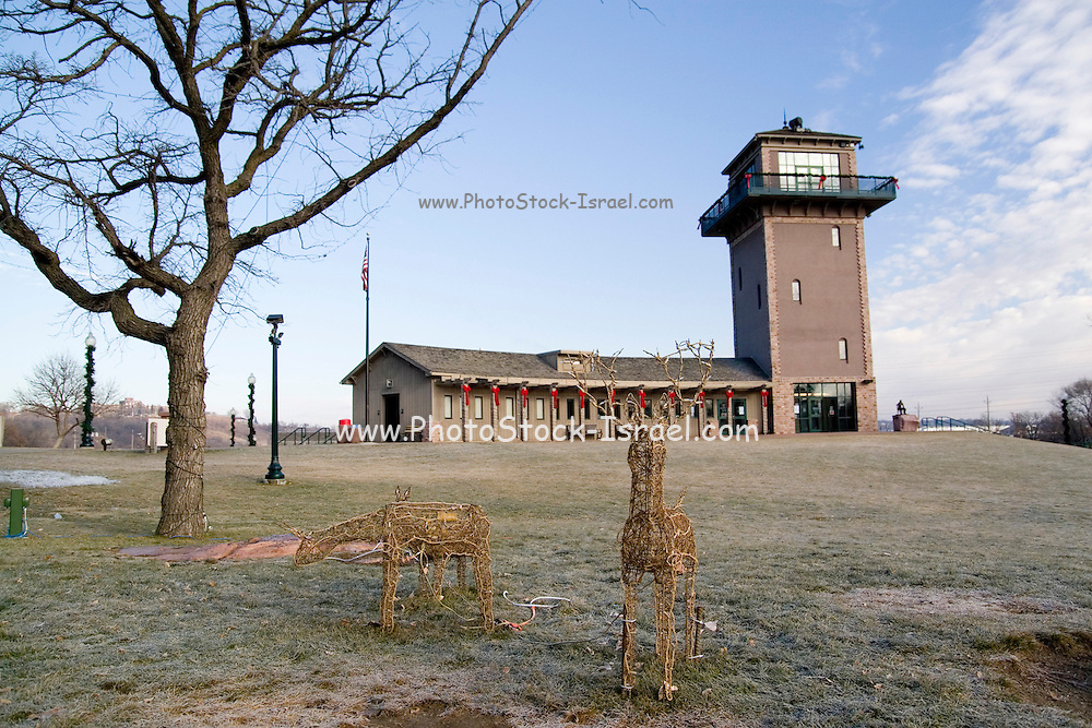 South Dakota SD USA, The city of Sioux Falls. building and tower at Sioux Falls Park