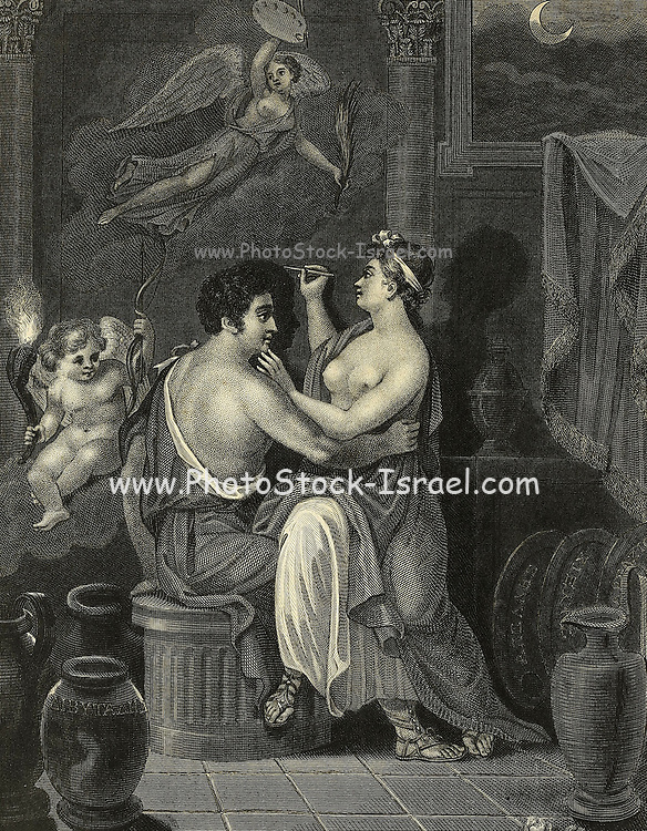 The Grecian Maid (The Daughter Of Dibutades, An Eminent Artist In Pottery), At The Light Thrown Upon Her Lover By The Torch Of The God Of Love, Traces The Outlines Of his Shadow on the Wall. The Genius Of Painting, To Whom This Circumstance Has Given Birth, Soars Aloft, Bearing The Emblems Of The Art. The Corinthian Pillars Allude To The Country Where The Scene Took Place; And The Moon In Her Decline Shows That The Lover Was On The Point Of Undertaking A Journey. Copperplate engraving From the Encyclopaedia Londinensis or, Universal dictionary of arts, sciences, and literature; Volume XVIII;  Edited by Wilkes, John. Published in London in 1821