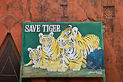 Save Tiger poster at Ranthambhore National Park tiger reserve, Rajasthan, Northern India