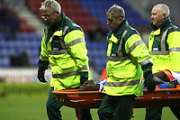 Photo: Paul Greenwood/Sportsbeat Images.<br />Wigan Athletic v Blackburn Rovers. The FA Barclays Premiership. 15/12/2007.<br />Wigan's Emile Heskey is carried off on a stretcher