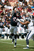Houston Texans rookie linebacker Davin Bellamy (48) is blocked by Los Angeles Rams rookie offensive tackle Joe Noteboom (70) as he jumps while trying to block a pass during the 2018 NFL preseason week 3 football game against the Los Angeles Rams on Saturday, Aug. 25, 2018 in Los Angeles. The Rams won the game 21-20. (©Paul Anthony Spinelli)