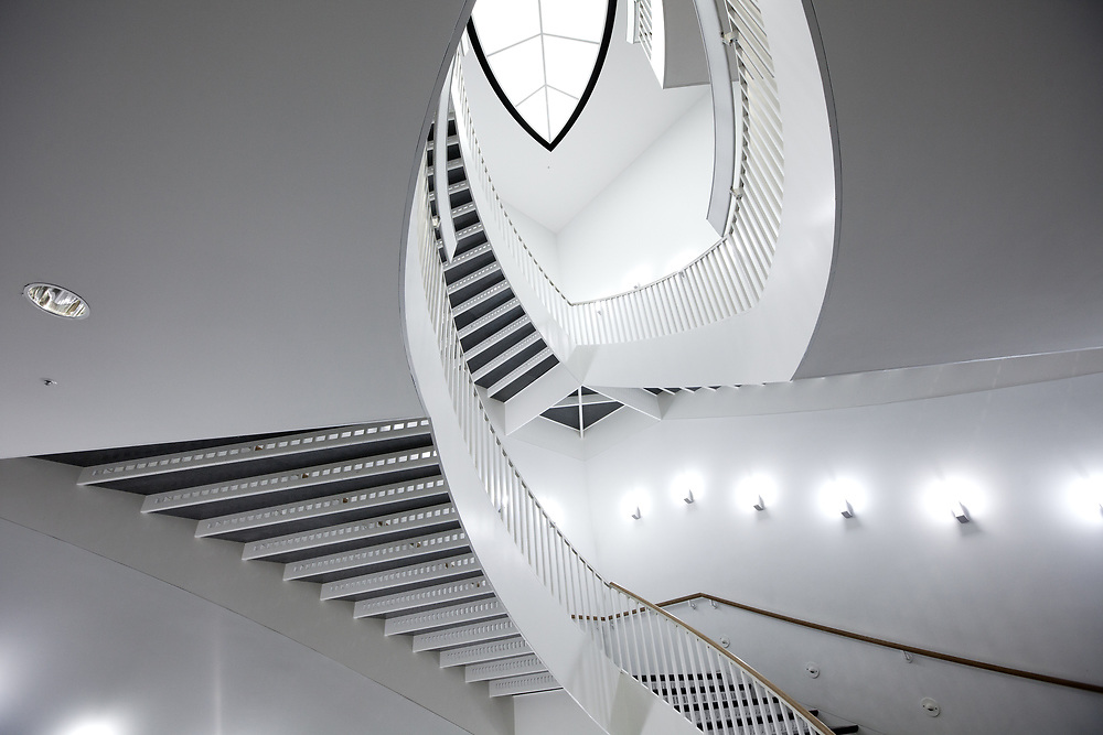 Chicago, Illinois, United States - Architecture detail of the spiral staircase of The Museum of Contemporary Art (MCA) Chicago.