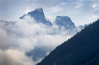 Selkirk Mountains shrouded in mist, Rogers Pass British Columbia