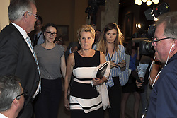 June 13, 2018 - Toronto, ON, Canada - TORONTO, ON - JUNE 13  - Premier Kathleen Wynne walks to her last caucus meeting at Queen's Park, June 13, 2018. What's next for the seven who survived? What prominent former Liberal cabinet ministers Michael Coteau and Mitzie Hunter say their party needs to do to rebuild  Andrew Francis Wallace/Toronto Star (Credit Image: © Andrew Francis Wallace/The Toronto Star via ZUMA Wire)