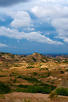 Painted Canyon Panorama. Theodore Roosevelt National Park. Image taken with a Nikon D3 and 85 mm f/2.8 PC-E lens (ISO 200, 85 mm, f/16, 1/40 sec). 2 of 9 images combined with AutoPano Giga and Dehaze Filter.