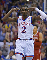 Feb 19, 2018; Lawrence, KS, USA; Kansas Jayhawks guard Lagerald Vick (2) celebrates after making a three point shot during the first half against the Oklahoma Sooners at Allen Fieldhouse. Mandatory Credit: Denny Medley-USA TODAY Sports