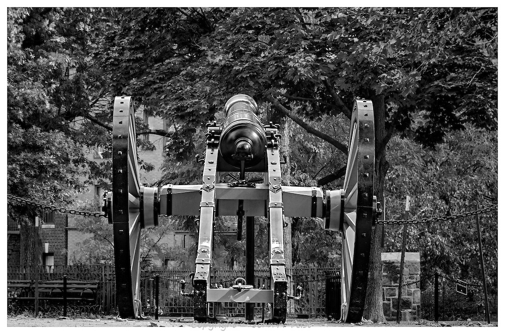 New York City recently did some major renovations at Bennett Park in upper Manhattan.  I played in this park as a child.  One of the things that changed was the addition of this cannon.  I'm not sure how the people across the street from the park feel about it!