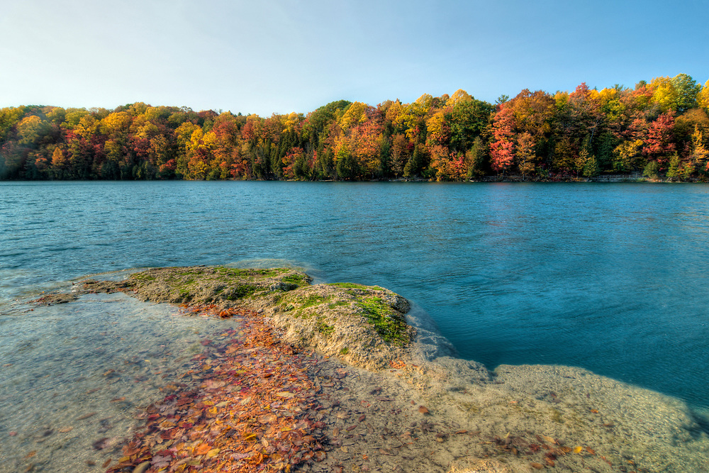 View from Point Reef along the Green Lake Trail at Green Lake State Park in Manlius, NY on Tuesday, October 18, 2016. Copyright 2016 Jason Barnette