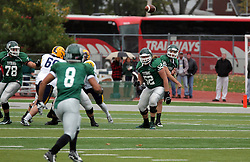 18 October 2014:  Shielded by Frank Toland (OL), Donovan Laible makes a toss to Fernando Lozano (WR) during an NCAA division 3 football game between the Augustana Vikings and the Illinois Wesleyan Titans in Tucci Stadium on Wilder Field, Bloomington IL