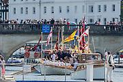 Henley-on-Thames. United Kingdom.  2017 Henley Royal Regatta, Henley Reach, River Thames. <br /> Royal Rowbarge Gloriana<br /> <br /> 15:14:25  Sunday  02/07/2017   <br /> <br /> [Mandatory Credit. Peter SPURRIER/Intersport Images.