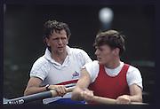 Henley Royal Regatta. left,  Martin CROSS and Tim FOSTER.<br /> The Silver Goblets & Nickalls' Challenge Cup [Credit Peter Spurrier/ Intersport Images] 1990 Henley Royal Regatta. Henley. UK