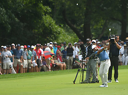 August 12, 2018 - St. Louis, Missouri, U.S. - ST. LOUIS, MO - AUGUST 12: Jason Day hits his second shot from the #1 fairway during the final round of the PGA Championship on August 12, 2018, at Bellerive Country Club, St. Louis, MO.  (Photo by Keith Gillett/Icon Sportswire) (Credit Image: © Keith Gillett/Icon SMI via ZUMA Press)